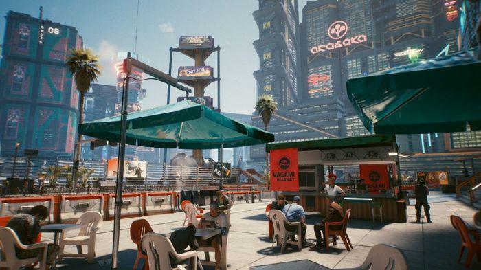 Cyberpunk 2077 night city in game