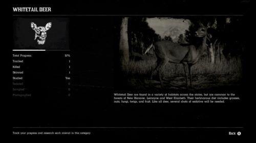 Red Dead Online Naturalist Animal Field Guide