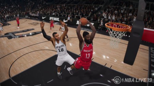 James Harden leaps for a dunk in NBA Live 19