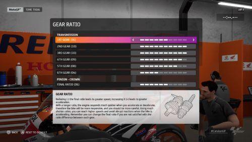 MotoGP™20 gear ratio setup Catalan