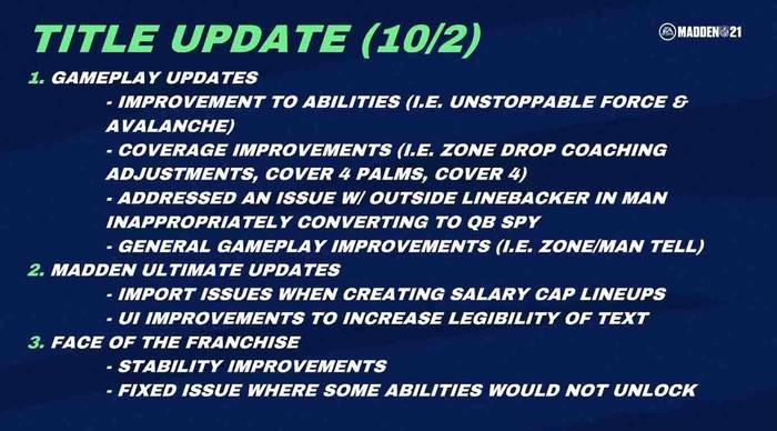 Madden 21 title update 1