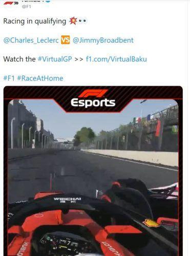 Leclerc Broadbent Baku Azerbaijan Virtual GP