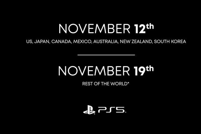 PS5 release dates