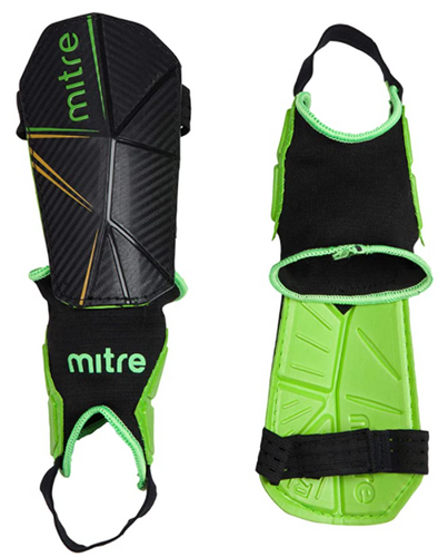 Best shin pads Mitre product image of a pair of black and green shin pads with ankle guards