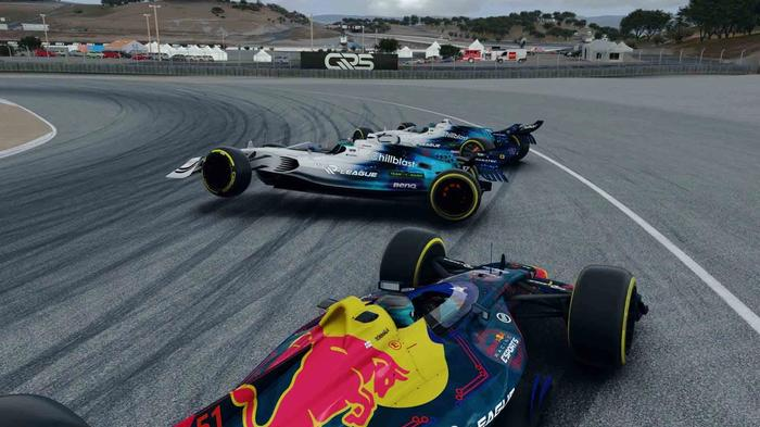 Two Williams drivers collide at Laguna Seca in the V10 R-League