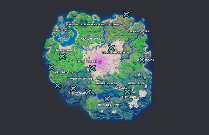Fortnite Season 5 Week 15 Duel Characters challenges map