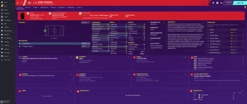Grabara's starting Football Manager 2020 attributes and information.