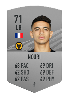 Rayan Ait Nouri 71-rated silver base card fifa ultimate team
