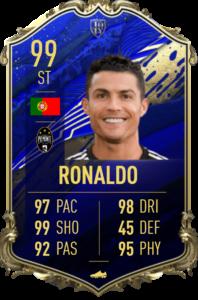 Cristiano Ronaldo's FIFA 20 TOTY 99 OVR card