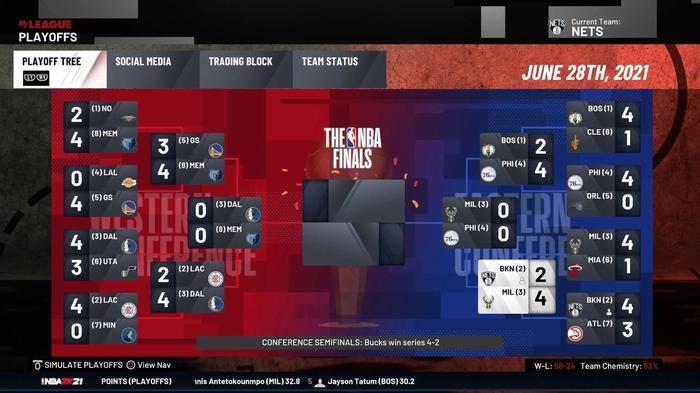 NBA 2K21 James Harden Nets Simulation Playoffs Elimination