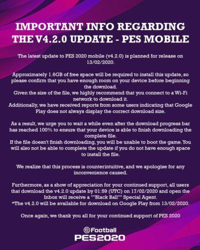 pes 2020 mobile tweet update v 4 2
