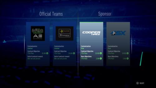 Choosing a team in Monster Energy Supercross 3