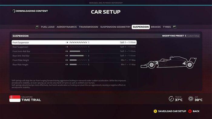F1 2019 Singapore Grand Prix setup suspension