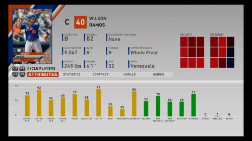 Wilson Ramos MLB The Show 20 best catchers Franchise Mode March to October