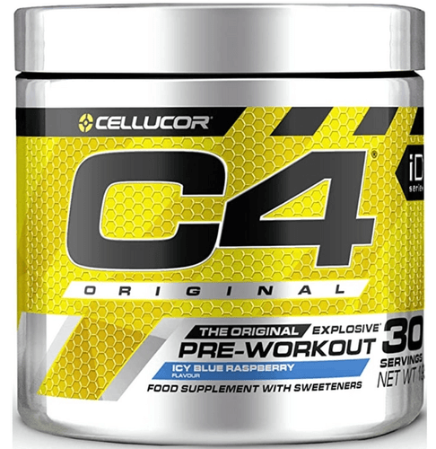 Best pre-workout Cellucor product image of a silvery container with yellow and black labeling