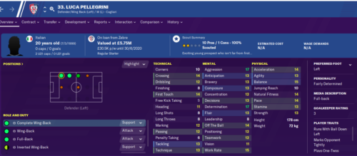 Luca Pellegrini's stats page in Football Manager 2020