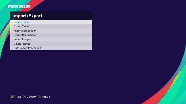 import menu pes 2021 option file