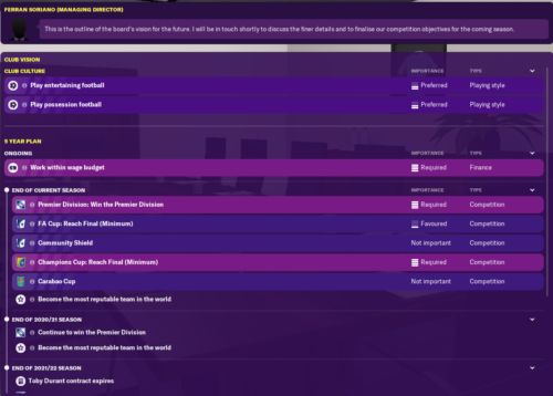 Man City's Club Vision in Football Manager 2020