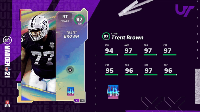 Madden 21 screenshot Trent Brown from Good Morning Madden