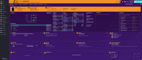 Neto's starting Football Manager 2020 attributes and information.