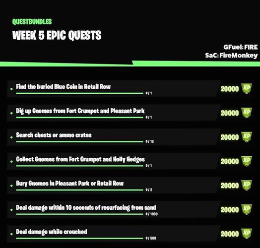 fortnite season 5 week 5 epic quests leak