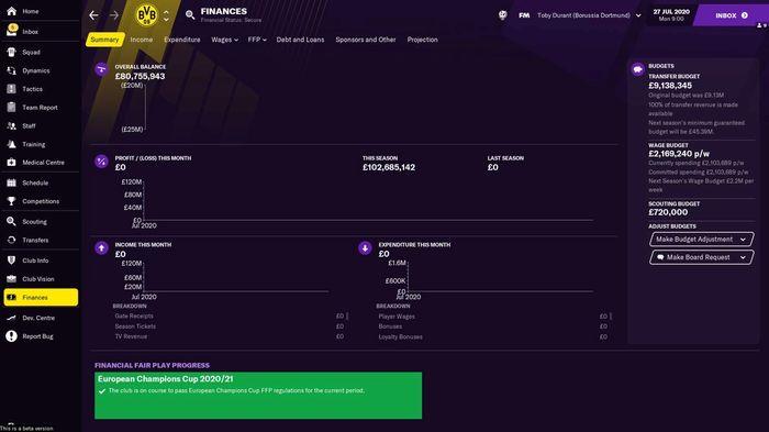 Borussia Dortmund's finances when you start a Football Manager 2021 save