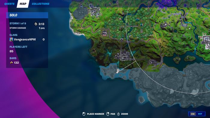 fortnite season 7 swamp stalker map location