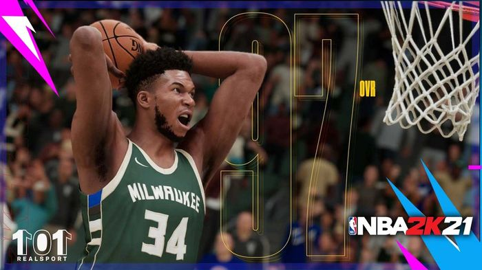Giannis Antetokounmpo finished a big dunk at the rim in NBA 2K21