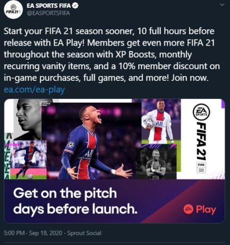 fifa 21 ea play rewards tweet