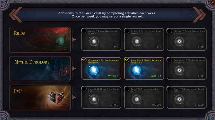 WoW Shadowlands Great Vault Weekly Chest Raids Mythic Dungeons PVP