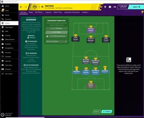 Borussia Dortmund's starting FM20 tactics