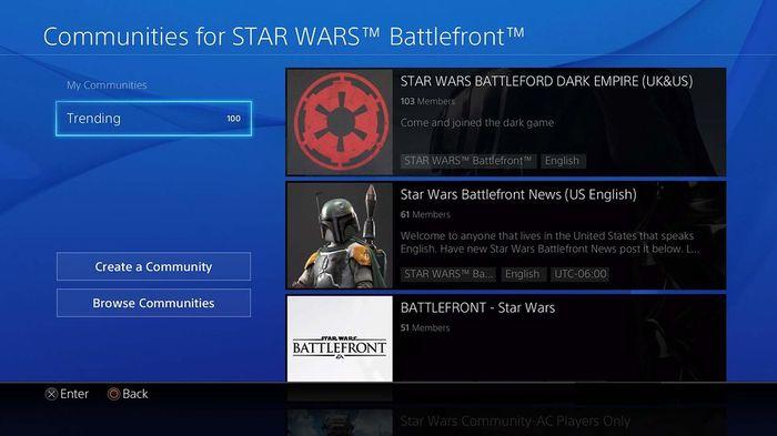 PS4 Communities Battlefront Star Wars