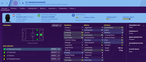 Morgan Rogers' Football Manager 2020 stats page