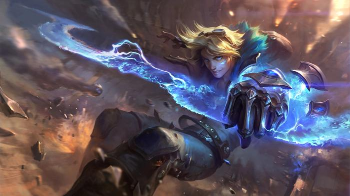 Ezreal is a blonde guy in Wild Rift, with a power source of blue color in his hands coming out of some rock debris.