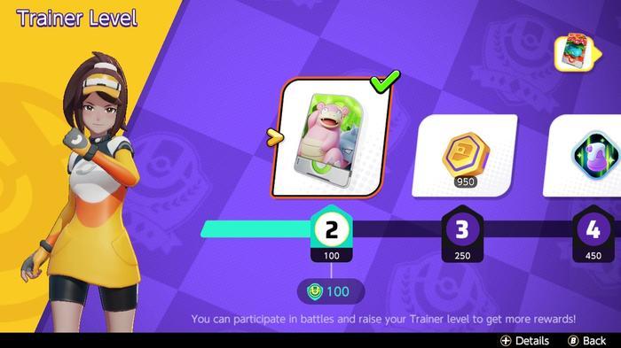 A rewards screen for Pokemon Unite
