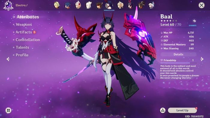 A character page for upcoming hero, Baal in Genshin Impact