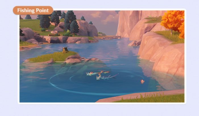 A body of water for fishing gameplay in Genshin Impact