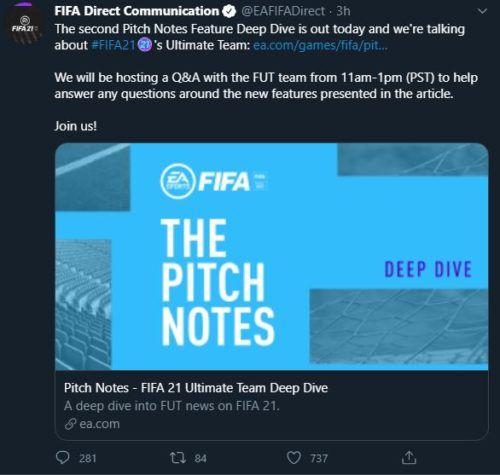 FIFA 21 EA q and a FUT