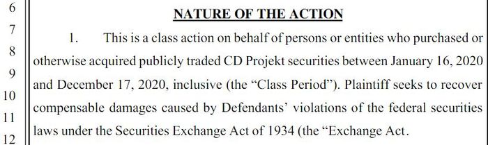 Cyberpunk 2077 Lawsuit CD Projekt Red Class Action Investors Refund PS4 Xbox One