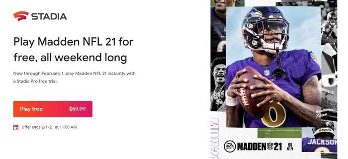 Madden 21 Google Stadia Free Weekend Download