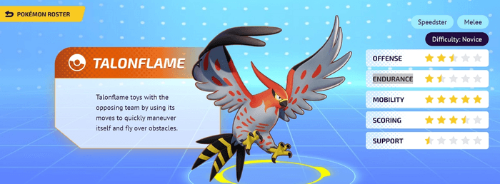 A character screen for Talonflame in Pokemon Unite