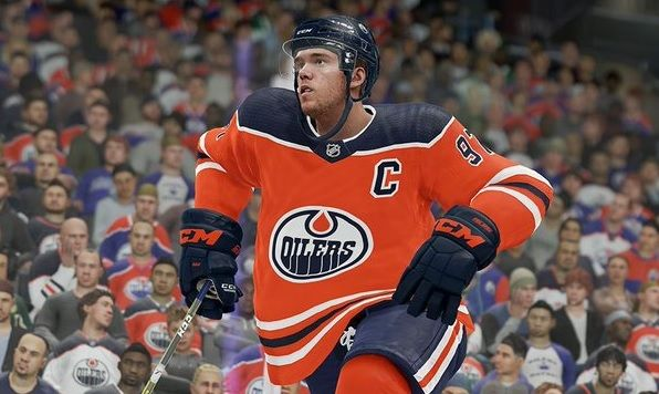 Oilers centre Connor McDavid skates by in NHL 22.