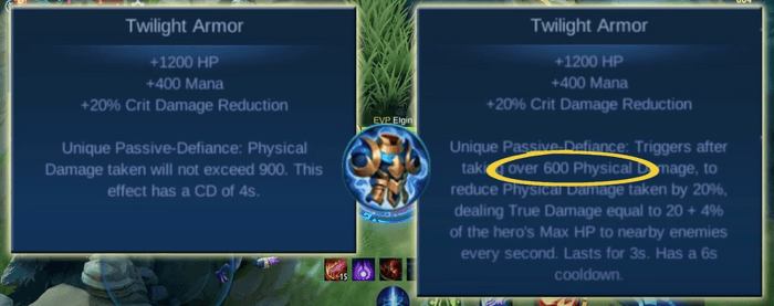 A before and after comparison of how the defensive item Twilight Armor