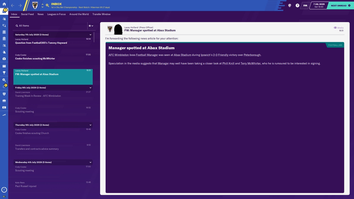 FM20 manager spotted news item