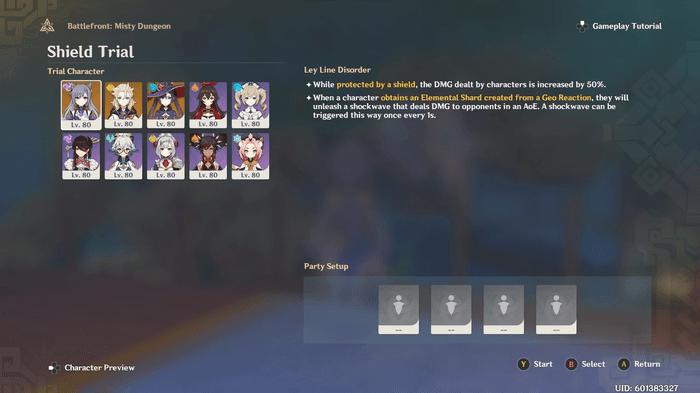 Genshin Impact Shield Trial screenshot