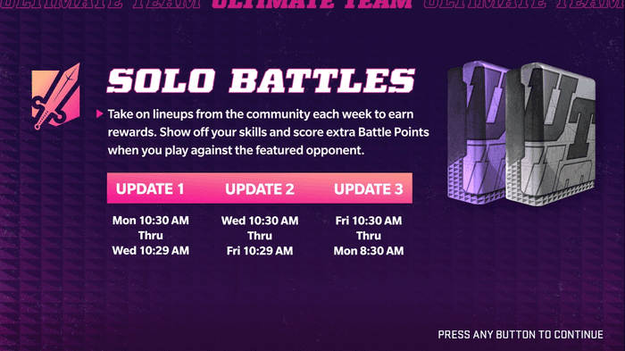 The Solo Battle screen in the Madden Ultimate Team mode of Madden 22