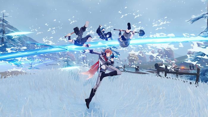 Albedo fighting enemies in the Dragonspine biome of Genshin Impact 1.2