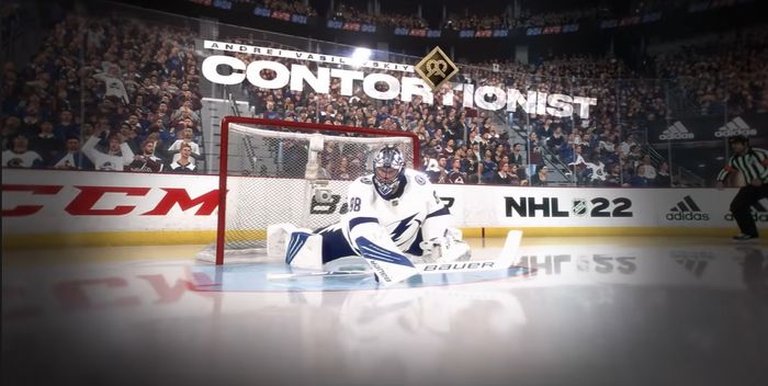 Andrei Vasilevskiy in NHL 22 reaches to defend the goal