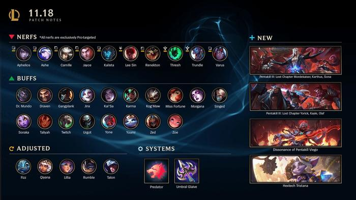 LoL 11.18 patch notes highlights overview
