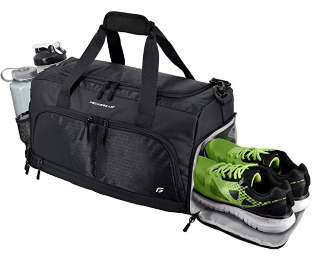 Best gym bag FocusGear product image of a black bag with a side pocket containing green trainers